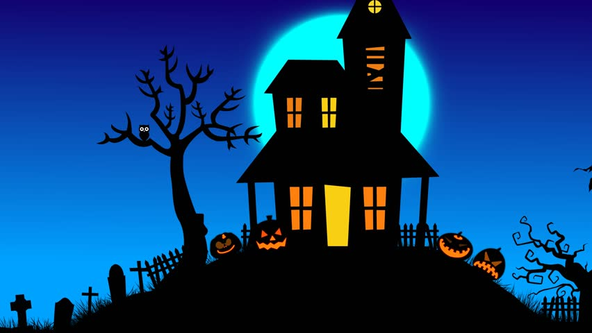 halloween night with scary things and moon motion graphics