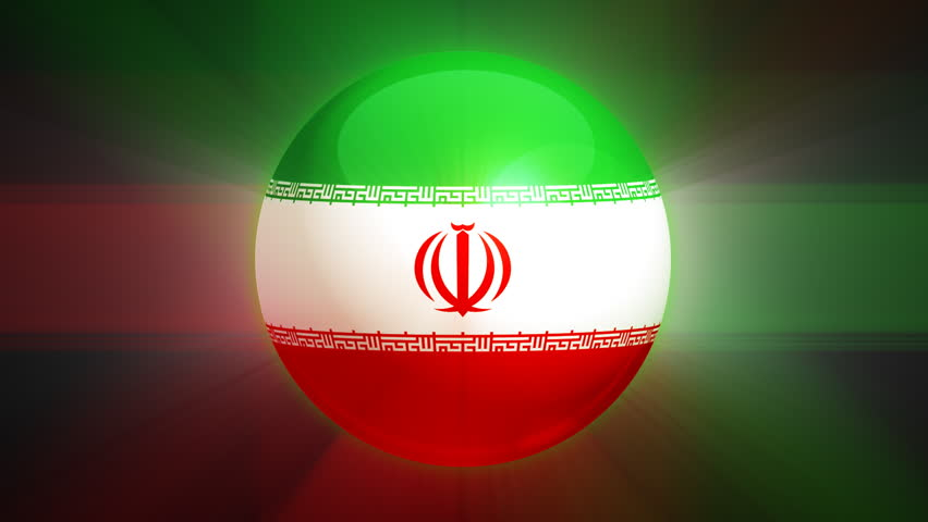 Iranian flag spinning globe with shining lights - HD loop  - HD stock footage clip