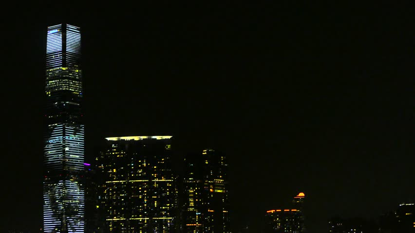 HONG KONG, OCTOBER 2015: Hong Kong International Commerce Center Skyscraper Animated Light Display