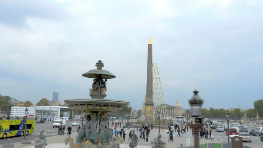 PARIS-OCTOBER 15 :  The monolith at place de la concorde in Paris. A tracking shot from a bus of place de la concorde. 15 October 2015