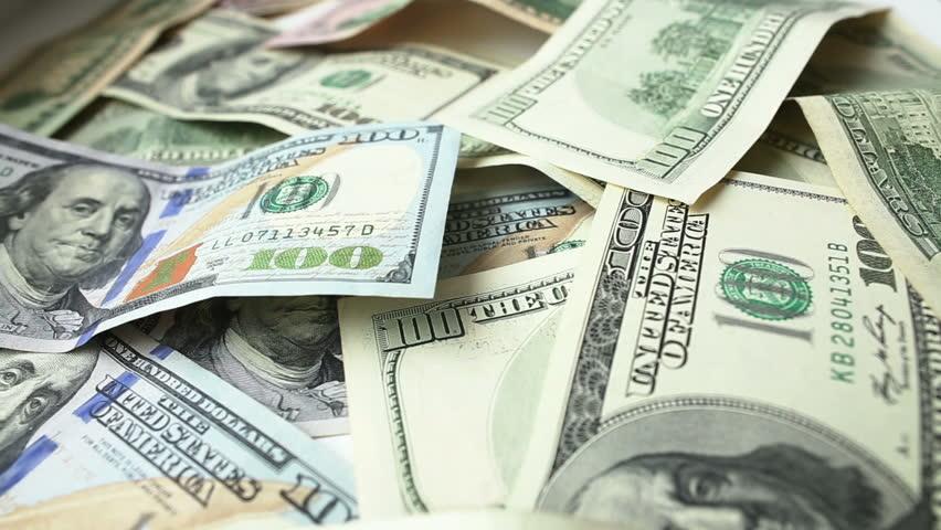 Dollar bills, dolly shot, close up. Full HD - HD stock video clip