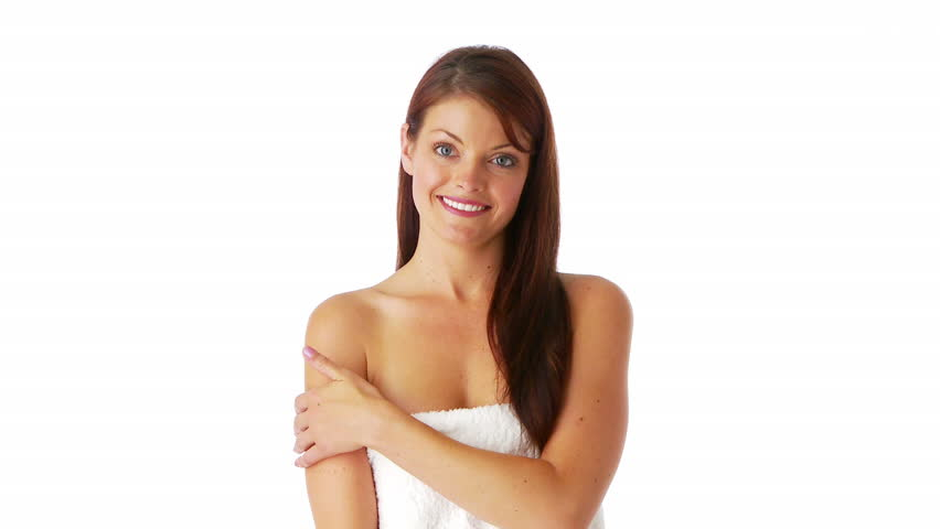Attractive young female covered by white towel - HD stock footage clip