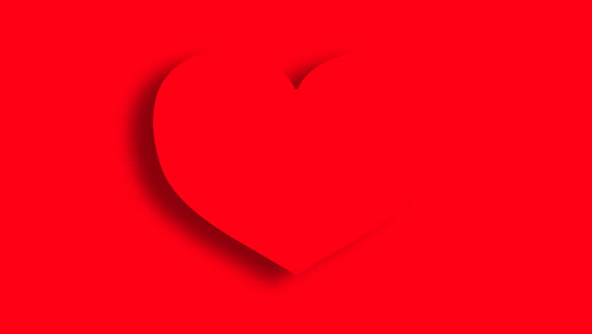Heart appears on red background.2 D animation.