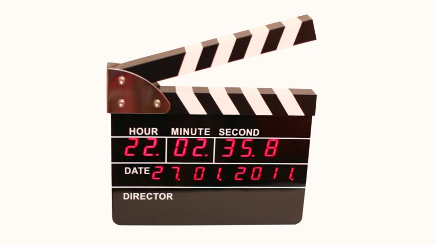 Front view on electronic clapboard on white background
