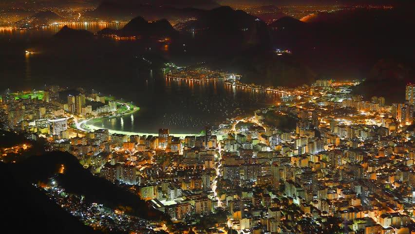 Rio de Janeiro Brazil at night time lapse