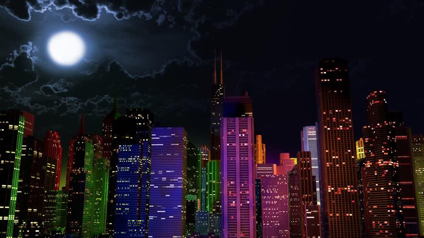 Modern City Lit By Colorful Light Effects At Night Cinema ...  Modern City Lit...
