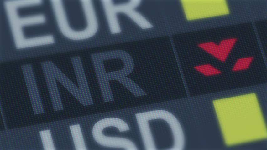 World exchange market default. Global financial crisis. Indian rupee falling - 4K stock footage clip