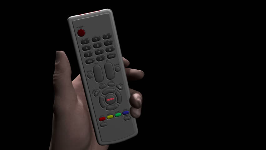 Male hand holds remote control and presses a button marked ENTER