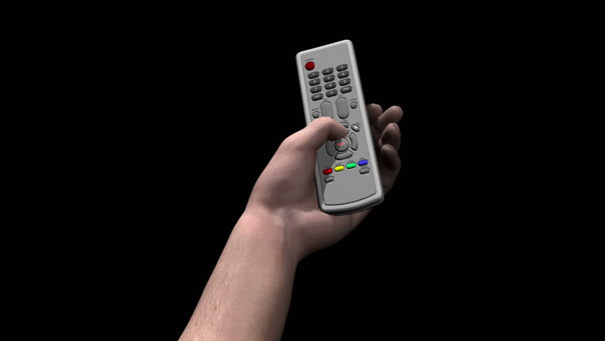 Male hand holds remote control and presses a button marked BUY