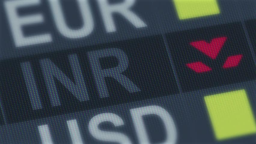 World exchange market default. Global financial crisis. Indian rupee falling - HD stock video clip