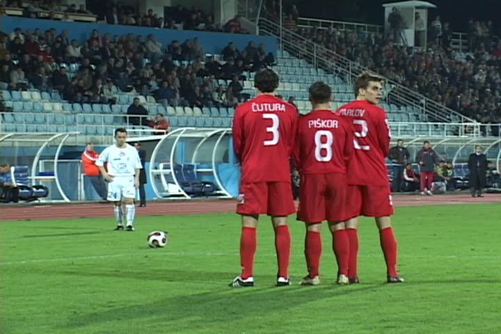 soccer or football match - free kick  (First Croatian Football League)