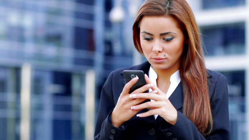 Blonde Girl With Cell Phone Stock Photo - Image of office