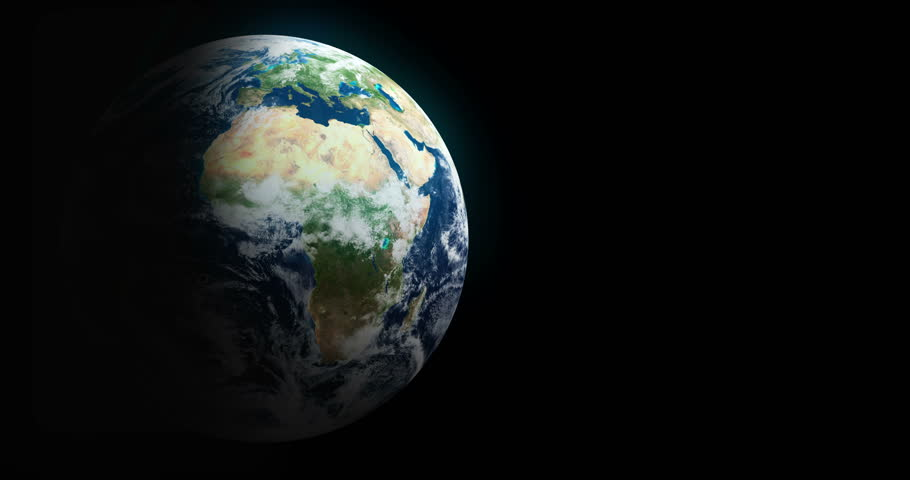 Loopable Spinning Globe Against Black with Copy Space in 4 K. Earth animation of spinning blue globe with copy space against black. Loop-ready file in 4 K resolution. World map courtesy of NASA. - 4K stock footage clip
