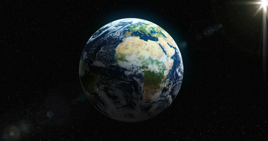 Loopable Spinning Globe Against Black in 4 K. Earth animation of spinning blue globe with copy space against black. Loop-ready file in 4 K resolution. World map courtesy of NASA. - 4K stock video clip