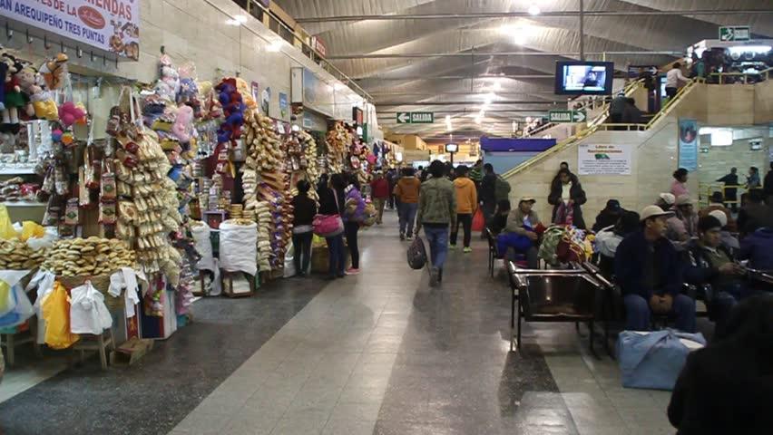 AREQUIPA, PERU - MAY 30, 2015: Interior of a bus terminal in Arequipa, Peru