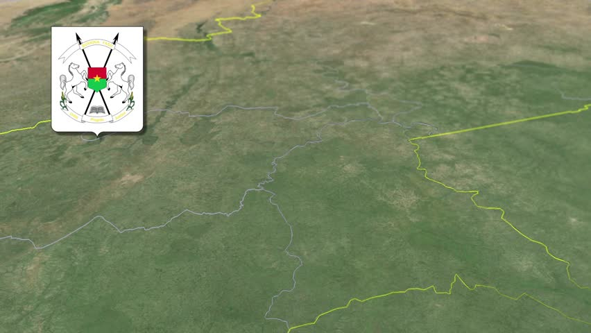 Sud-Ouest Region with Coat of arms animation map Regions of Burkina Faso