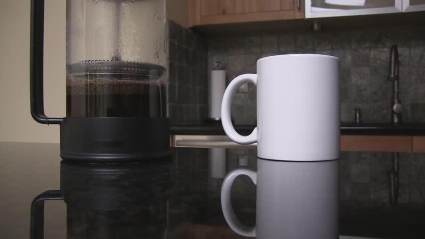 Coffee prepared using a french press.