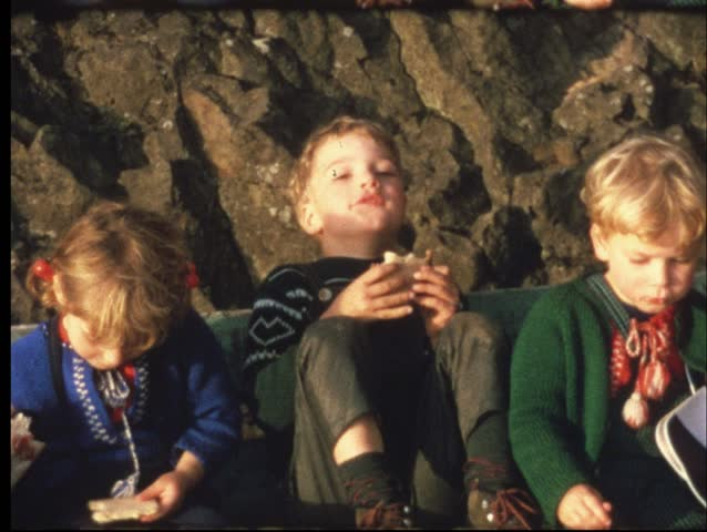 Family picknick (Vintage 8 mm amateur film) - HD stock footage clip
