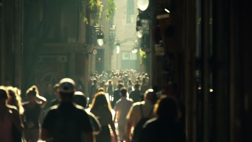 street crowd slowmotion - HD stock footage clip