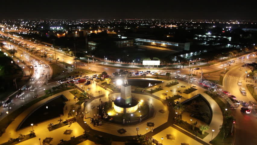 Luanda Skyline Night Time Lapse. Shot taken above of the 'First of May' roundabout with the city of Luanda stretching into the horizon. Luanda, Angola, 2011