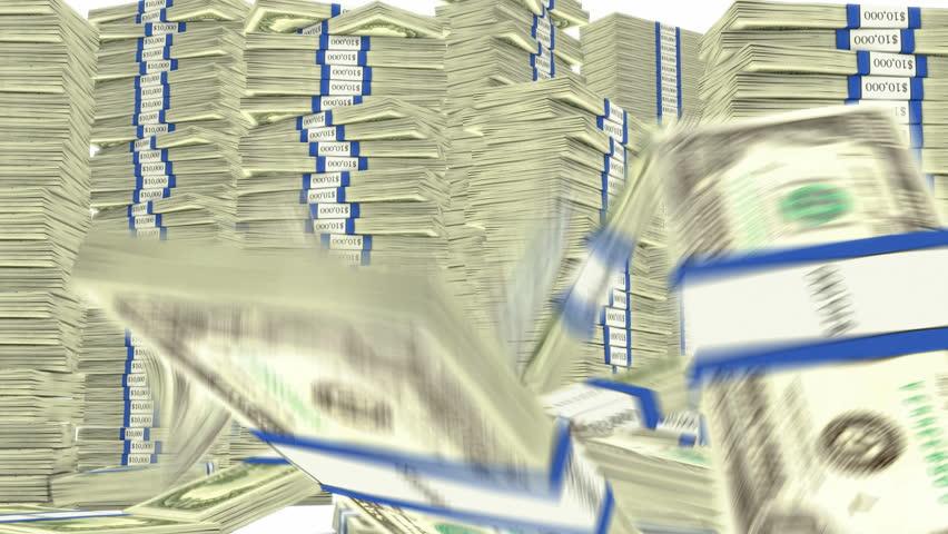 100 dollar bundles stacks falling down. Wealth and money