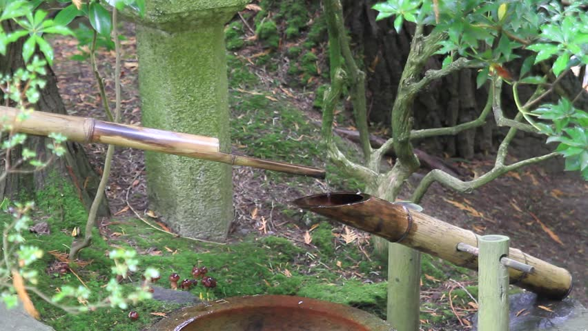 Japanese stone basin bamboo fountain in portland oregon for Bamboo water garden