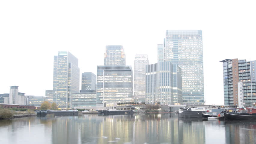 Time Lapse of London's Canary Wharf with Pond at Dusk - HD stock video clip