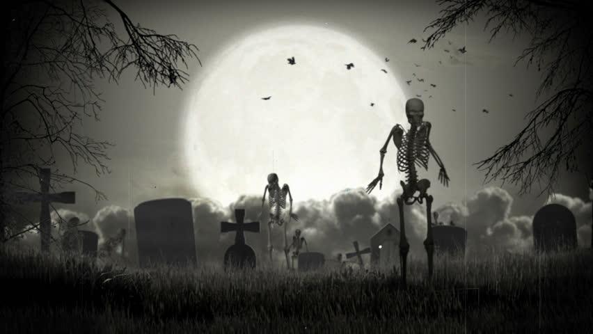 graveyard loop  3d animation walktrough  stock footage