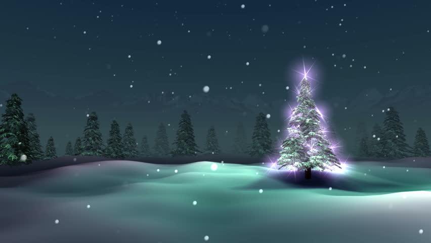Christmas tree, snowy night, loop