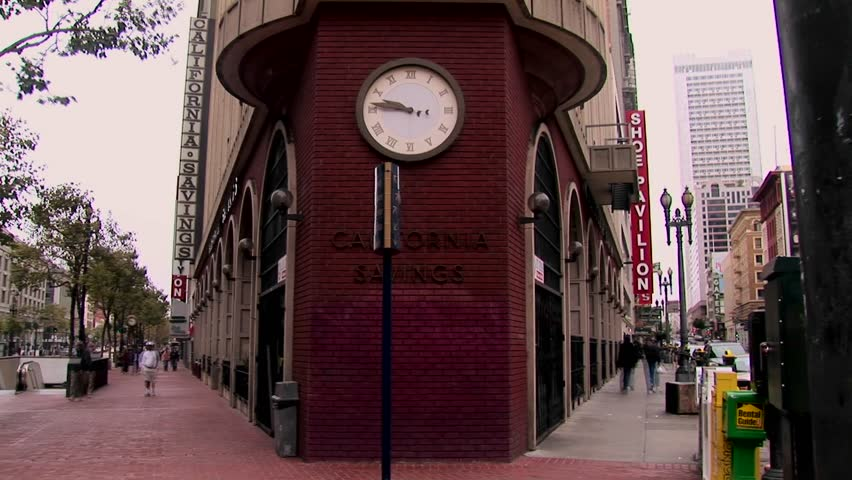 SAN FRANCISCO, CALIFORNIA - CIRCA 2008: Time-lapse of pedestrians on a busy street corner. - HD stock video clip