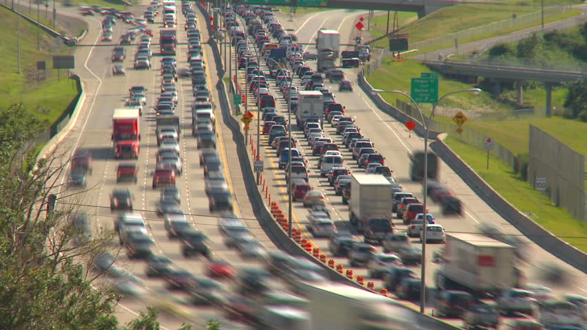 time-lapse freeway traffic rush hour