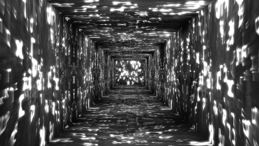 Tunnel design on Hebrew characters concept animation - HD stock footage clip
