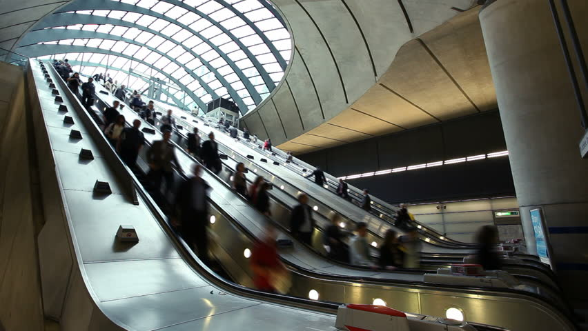 Escalator at the Canary Wharf Tube Station, London