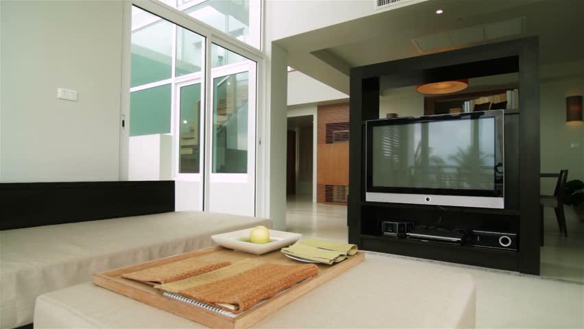 Luxury Loft Apartment Interior Tracking Shot