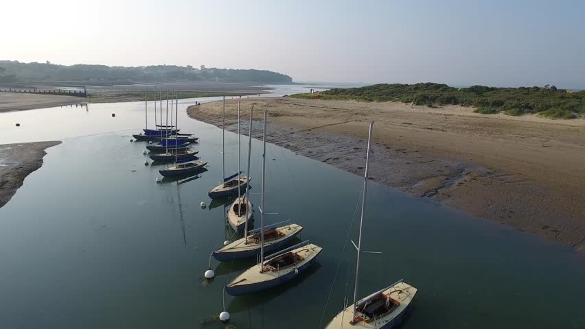 England Isle of Wight Aerial View Beach St Helens Harbour Harbour Office Brading Haven low tide in dry Harbour ebb and flow falling tide and rising tide late afternoon sun down near Ship Route