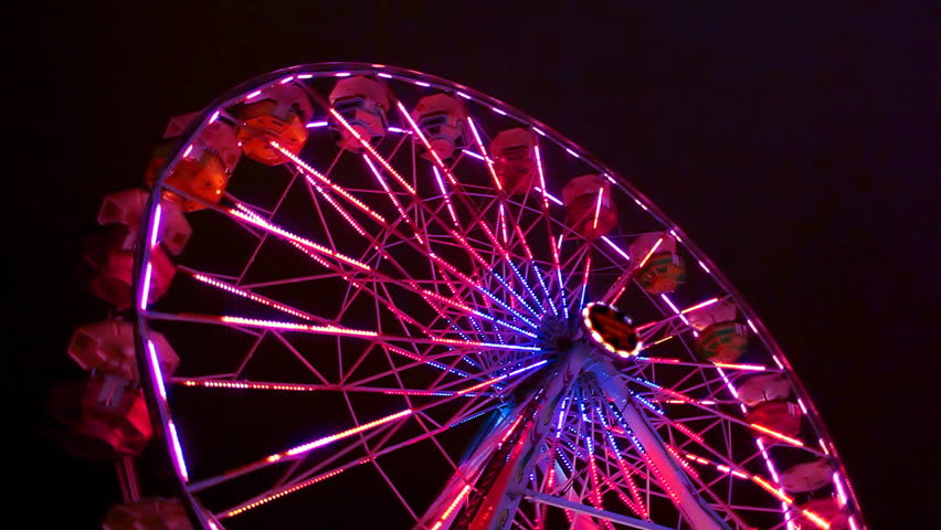 Ferris Wheel Carnival Ride at Night - HD stock footage clip