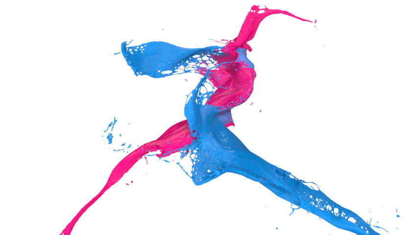pink and blue paint splashes collide in slow motion (FULL HD)