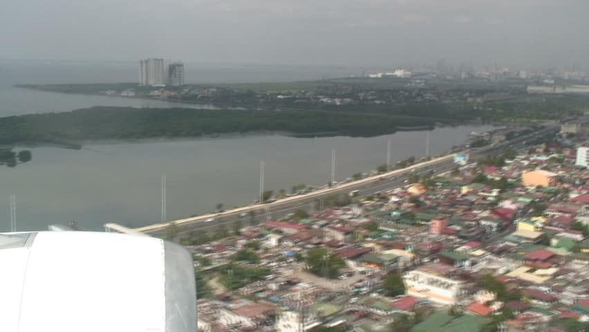 Amazing Scenery Of Airplane Landing Manila, Philippines