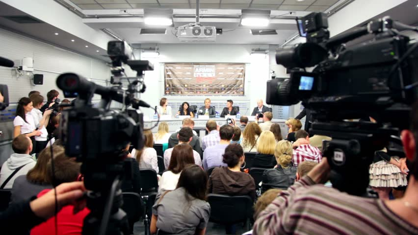 MOSCOW - MAY 6: Popular Dutch DJ Armin Van Buuren speak at press conferences in RIA Novosti hall, on May 6, 2011 in Moscow, Russia.