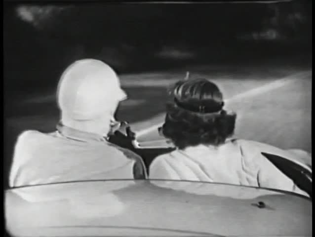 Rear view of two people driving in sports car