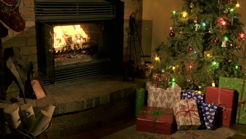 Fire In A Fireplace At Christmas Stock Footage Video