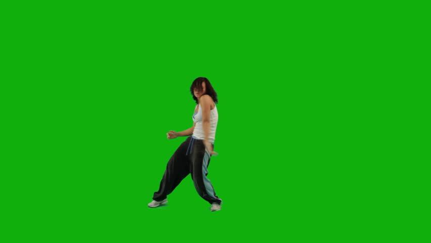 A girl dancing hip-hop against green screen