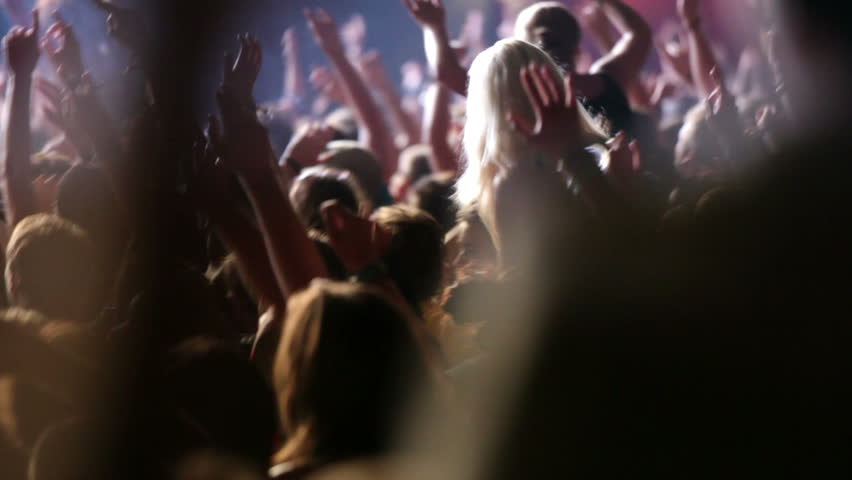 Footage of a crowd partying at a rock concert - HD stock footage clip