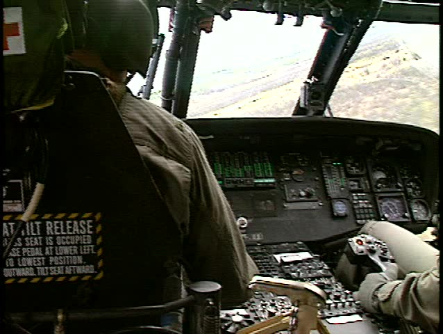 UH60 cockpit flight bank into white background (good audio, BetacamSP)