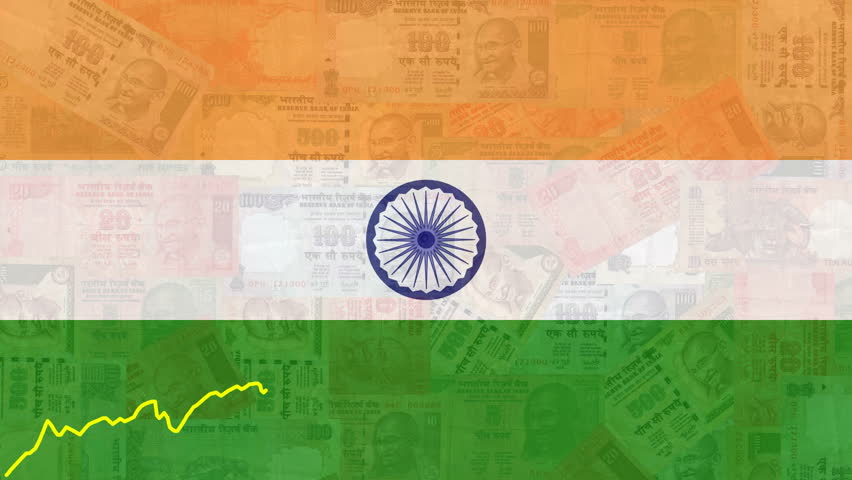 For Indian Flag Hd Animation: Line Graph Over Scrolling Rupees Animation Stock Footage
