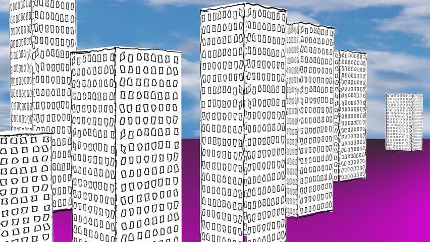 CITY CARTOON DISTANT - HD stock footage clip