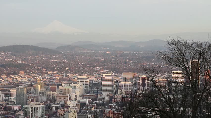 Panoramic View of Portland Oregon Downtown Skyline and Cityscape with Mount Hood 1080p Panning - HD stock footage clip
