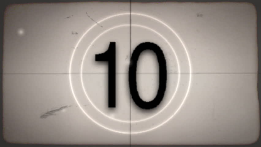 2 versions of an old-fashioned film countdown leader (color and desaturated sepia) with crackling audio.