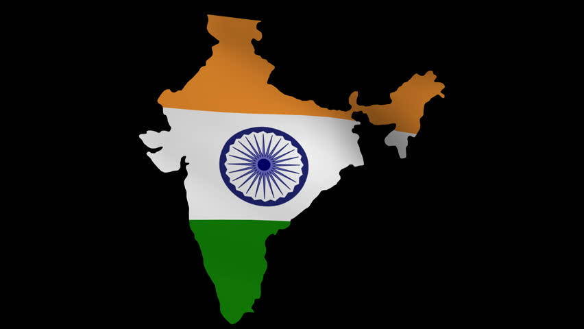 For Indian Flag Hd Animation: India Map With Rippling Flag Animation Stock Footage Video