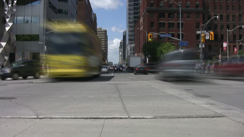 A time lapse shot of a busy Toronto intersection.